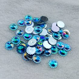 crystal craft stone Coupons - AB Color 12mm Round Flat Back stones and crystal Resin Rhinestone trim Gems For Costume Button Crafts 160pcs lot -Z165