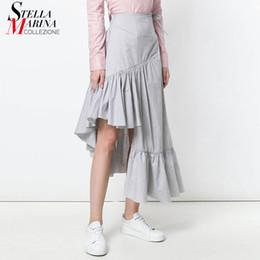 Nuevo 2018 mujeres del estilo coreano sólido negro gris con volantes hasta  el tobillo cintura elástica niñas elegante desgaste informal falda de  algodón ... 39100db8656c