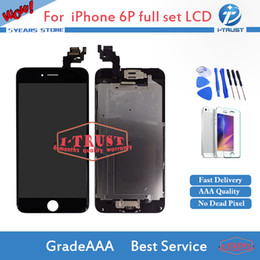 Wholesale Camera Repair Parts - I_TRUST LCD or Display for iphone 6 Plus LCD Home Button + Front Camera Repair Replacement Parts With Free Shipping