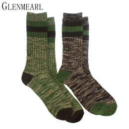 Носки онлайн-Merino Wool Men Socks Thick Reinforced Heels&Toes Striped Fall Winter Warm Hosiery Compression Coolmax  Male Boot Socks