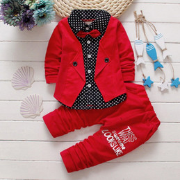 Wholesale Wholesale Fake Collar - Boys spring two fake clothing sets kids boys button letter bow suit children jacket+pants 2pcs clothing set