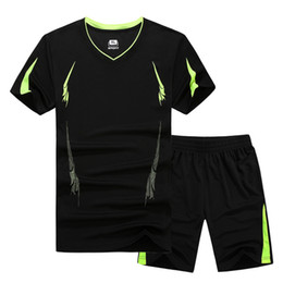 Séchage t-shirt en Ligne-2017 New Summer Men Set Sporting Costume À Manches Courtes T Shirt + Shorts Deux Pièces Ensemble Survêtement Séchage Rapide Survêtement Costume pour Hommes M -9xl