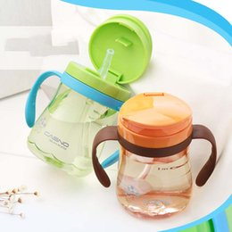 Wholesale Learning Lights - 330ml Shock-resistant Baby Cup Kettle Children Learn Feeding Drinking Water Bottle With Handle Cartoon Cover Kids Training Cup