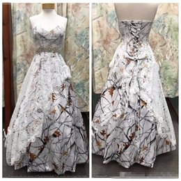 Wholesale Natural Overlay - .Custom Online Sweetheart Satin Camo Wedding Dress Lace Overlay Snowfall Camouflage Formal Lace Up Back Bridal Gowns Crystal Waistline