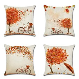 Giorno del Ringraziamento Bike Maple Red Leaves Serie Lino Federe Divano Auto Stampa Federa Cuscino Bar Cafe Decorazione della casa supplier maple leaf homes da case di foglie di acero fornitori