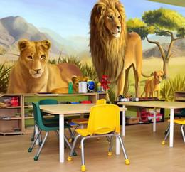 Fondo de pantalla personalizado online-Personalización personalizada 3D Animal en relieve Lions Photo Mural Wallpaper para niños Habitación 3D Room Paisaje decoración de la pared Frescos