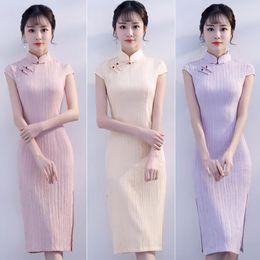 Wholesale long sleeved cheongsam - Cheongsam summer 2018 new fashion ladies sexy slim, thin Chinese wind short sleeved collar dress long
