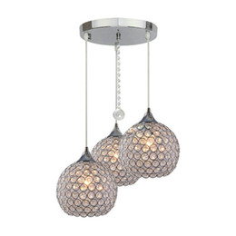 Wholesale Crystal Ball Pendant Lighting - 3 Lights Modern Crystal Ball Chandeliers Fixture Flush Mounted Pendant lamp luster LED Pendant lamp restaurant 110V-260V