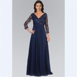 Argentina 2018 Navy Blue Lace A Line Vestidos para madre Custom Long Sleeveves con cuentas V Neck Madre del vestido de novia Custom Beads Vestidos de noche Suministro