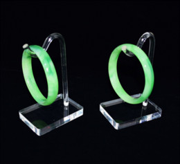 Wholesale acrylic bangle stand - Wholesale 10pcs lot Jewelry Display Props Bracelet Chain Rack Ankle Stand Bangle Shelf Holder White Clear Acrylic Hook