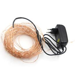 Adaptador led de luces de navidad online-10m 50m LED String Fairy Lights Navidad Guirnalda Fiesta Decoración de la boda Christmas Flasher Micro LED Fairy Lights + adaptador de corriente