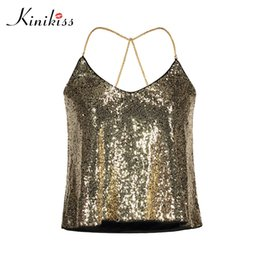 Wholesale Sequin Camisoles - Kinikiss Women Sexy Golden Sequins Cami Tops Bling Metallic Chain Backless Tanks Tops Lady Nigh Club Party Short Camisole