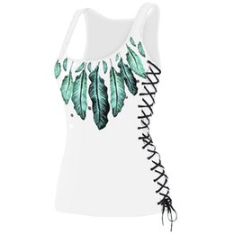 Wholesale Ladies Green Vest Tops Wholesale - ZAFUL Women Tops Feather Print Lace Up U Neck Tank Top Women Casual Sleeveless Tank Top Vest Fitness T Shirts Summer Ladies Tops