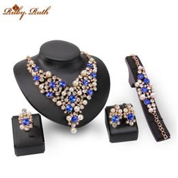 Wholesale Dress Jade Color - Jewelry SetsAfrican Beads Necklace Set For Women Fine Crystal Gold Color Pendant Earrings Bracelets Wedding Dress Accessories