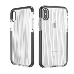 Wholesale Wholesale 3d Cell Phone Cases - For iPhone X Colorful Frame 3d Wood Grain Transparent TPU TPE Case Shockproof Cell Phone Protective Covers OPP BAG