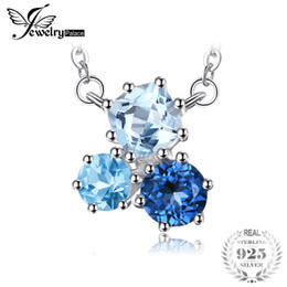 Londres pingentes on-line-Jewelrypalace 1.7ct genuína multi london topázio azul pingente de colar 925 sterling silver 18 polegadas moda jóias para mulheres
