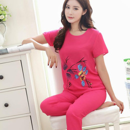 Wholesale Ladies Plus Size Pyjamas - Wholesale- Ladies Pyjamas L - XXXXL Soft Comfort Cotton Slubbed Bourette Fabric Flower Print Short Sleeve Sleepwear Plus Size 80039