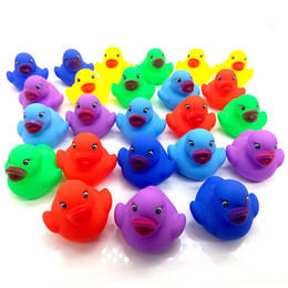 Wholesale Mini Rubber Bath Toys - Baby Bath Water Duck Toy Sounds Mini Yellow Colorful Rubber Ducks Kids Bath Small Duck Toy Children Swiming Beach Gifts 6*5.5cm