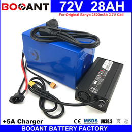Wholesale Battery Charger For Sanyo - BOOANT 72V 28AH 1800W Lithium Battery pack for Original Sanyo 18650 Cell Electric Bicycle Battery 72V +5A Charger Free Shipping