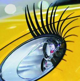 Charme peitsche online-Charming Black Falsche Wimpern 1 Paar Auto Styling 3D Auto Aufkleber Auto Aufkleber und Aufkleber Wimpern Aufkleber Scheinwerfer Dekoration