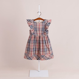 Wholesale fly briefs - 3 colors 2018 NEW arrival summer Girls Kids flying Sleeve dress kids causal high quality cotton baby kids plaid dress free shipping