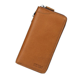 Wholesale korean hot sell - Hot Selling New Fashion Casual Men And Women Leather Long Wallet High-quality Zipper Cell Phone Pocket Design Wallet Card Holder Wallet