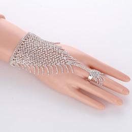 Wholesale Bracelet Slave - Slave Silver Hand Crystal Chain Ring Bridal Bracelet Bangle Rhinestone Hand Decoration Wedding Cuff Attached Ring Set Gold