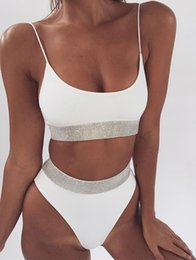 ee8fa5d5a7f24 newest 2018 sequins solid split bikini women sexy strappy tops high waist  swimsuits 3 colors moda praia maillot de bain femme
