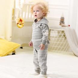 Kleinkindmädchen hoodie passt online-Frühling Herbst häkeln Kleinkind Mädchen Sport Anzug Hoodies Hosen Set Neugeborenen Outfits Winter Outwear Infant Jungen stricken Trainingsanzüge