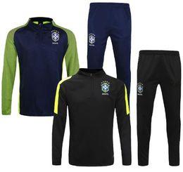 Wholesale Green Track Suits - Survetements equipe Brazil Copa America Bresil 2016 Brazilian Maillot de foot Neymar brasil trainingspak Soccer Jogging Football track suit