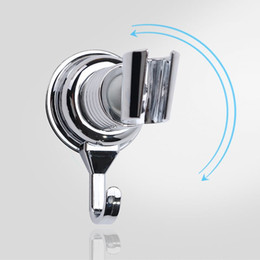Wholesale Abs Bathrooms - Chrome Plated ABS Plastic Shower Head Holder 360 Degree Vacuum Suction Cup Adjustable Supports Bathroom Accessories