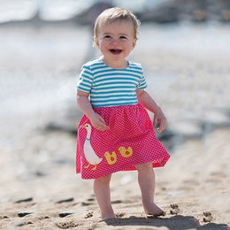 Wholesale patterned flower girl dresses - Girls Fashion T-shirt Dress 2018 Summer Clothing 100% Cotton Kids Dress Patterns Printed Flowers Baby Girl Clothes 6pcs lot