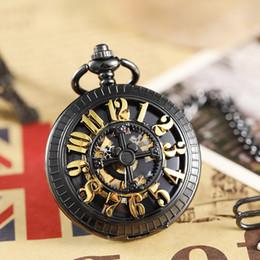 horloge grosse main Promotion Squelette noir main vent mécanique montre de poche hommes femmes millésime grand chiffres romains creux collier fob chaîne horloge pendentif