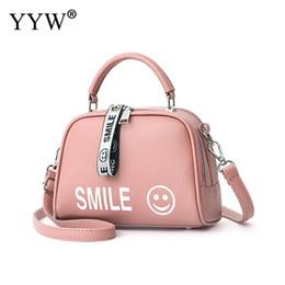 7920117e5d Borsa in pelle rosa per le donne 2018 Gioielli Smile Face Top Handle Hand Bags  Pu Portable Ladies Borsa a tracolla grande capacità Totes sorriso del ...
