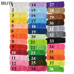 2019 vente en gros 4ème july headbands 50pcs / lot 1.5 pouce élastique Crochet Girl Top Tutu Hairband tricoté Pettiskirt bandeau 38 couleur en stock FD099
