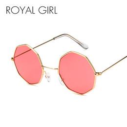Argentina ROYAL GIRL Vintage Octagon gafas de sol redondas mujeres 2018 Steampunk marco de metal pequeño amarillo rojo gafas de sol para hombre oculos ss786 cheap yellow sunglasses frames Suministro