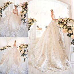 Wholesale Fancy Champagne - Saudi Arabia 3D Floral Appliques Wedding Dresses Beaded Jewel Neck Lace Applique Wedding Gown Dubai Princess Fancy Tulle Long Wedding Dress