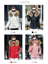 Wholesale Fake Fur Clothing - Fake Fur Collar Parka Down Cotton Jacket tWomen Thick Snow Wear Coat Lady Clothing Parkas Black ( Plus Size   White, Black, Pink, Red )
