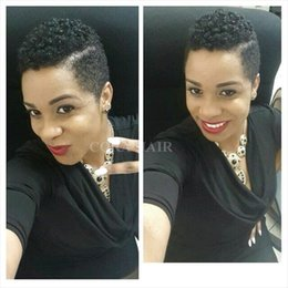 Wholesale Short Sexy Wig - Fashion Short Wigs Human Hair Pixie Cut Short Wigs Nature Color Women Party Sexy Short afro kinky curly