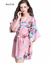 9dc37106dc35 RenYvtil Fashion Women Bath Robe 2017 Бренд Summer Faux Silk Цветочный женский  халат Женский ночной костюм Матери кимоно