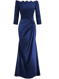 short black lace dresses for women UK - Plus Size Women Evening Lace Dress Chiffon Dress Sexy Half Sleeve Long Maxi Dresses For Party