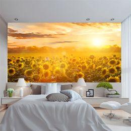 Декоративные обои для спальни онлайн-Индивидуальные росписи 3D обои красивый закат свечение пейзаж живописные прерии подсолнечника Lliving номер для искусства стены спальни украшения дома