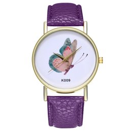 Женские круглые часы онлайн-womans watch ladies gifts special Woman Butterfly shape Leather strap Analog Quartz hot selling in 2018 Round Wrist Watch Watchs