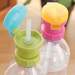 Wholesale Kids Drinking Bottles - NEW Portable Spill Proof Juice Soda Water Bottle Twist Cover Cap With straw Safe Drink Straw Sippy Cap Feeding for Kids