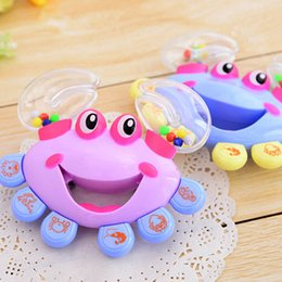 Wholesale wholesale plastic baby rattles - Kids Baby Rattles Toys Crab Design Hand Bell Musical Shaking Educational Toys Newborn Baby Toys Gifts Hand Toy For Children