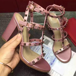 Wholesale Rough Leather Shoes - Women's high heels 2018 new high-quality leather women's shoes 35-41 European station rough with 8 colors