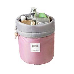 Wholesale Beverage Barrels - Barrel Shaped Travel Cosmetic Polyester High Capacity Drawstring Make Up Bags Makeup Case Necessaries Organizer Storage Wash Bag