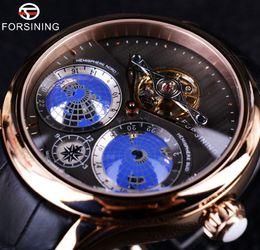 forsining relojes automáticos Rebajas x Forsining 2016 diseñador verdadero de la tierra Tourbillion multi-dimensional para hombre relojes de primeras marcas de moda de lujo ocasional del reloj automático