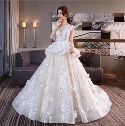 Wholesale Simple Wedding Dresses Korean Style - Wedding dress wholesale sleeve round collar trailing 2017 new Korean style simple big code lace pregnant women's wedding dress