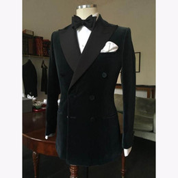 double breasted blue suits for wedding Coupons - Men's Tuxedo Dress Suits 2018 Fashion Black Double Breasted Slim Groom Wedding Prom Suit For Men Custom Made Velvet Mens Suits